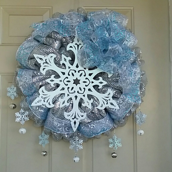 Wreathy Wonders Other - Frosty Blue Snowflake Wreath by Wreathy Wonders